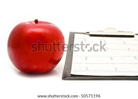 plane-table with a cardiogram and apple on a white background for your illustrations - stock photo