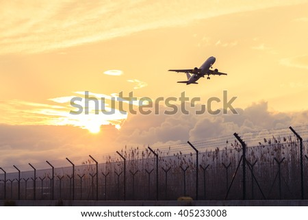 Plane taking off in Barcelona airport - stock photo