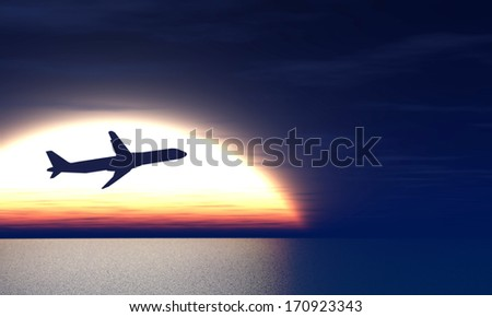 plane taking off on the background of the rising sun