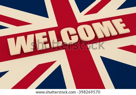 Plane textured by united kingdom national flag and welcome word - stock photo
