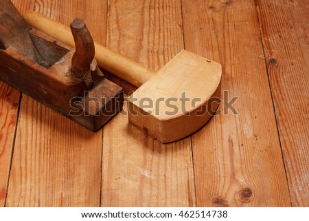 Planer and Mallet on wooden boards