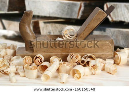 planer tools on wood table background  - stock photo