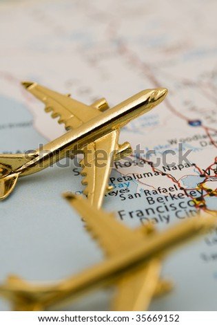 Planes Arriving in California. Map is Copyright and Trademark Free, Downloaded off www.nationalatlas.gov - stock photo
