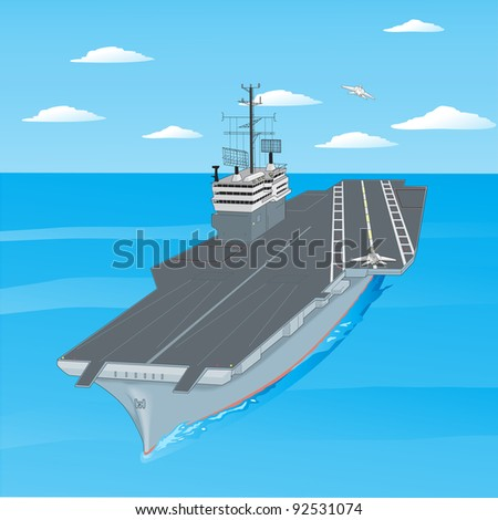 Planes taking off from the deck of an aircraft carrier in the ocean. Vector version also available in portfolio.