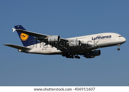 Planespotting at the airport of Frankfurt/Germany 27.02.2016  A Lufthansa Airbus A380 is landing on runway 07C