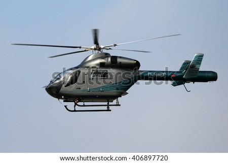 Planespotting at the airport of Stuttgart/Germany 01.03.2016  A Police Helicopter flying over the Airport of Stuttgart