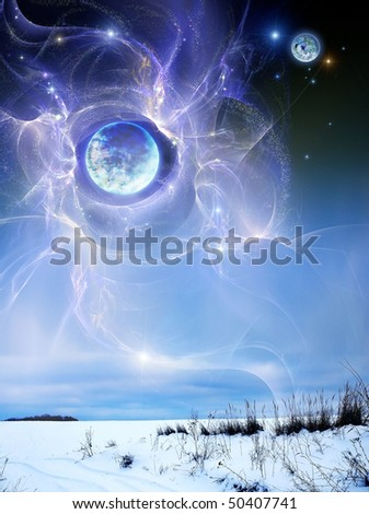 Planet above earth, the winter. Fantastic picture - a planet hung over earthly landscape - stock photo