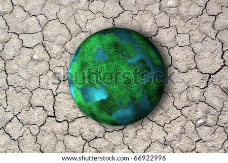 planet and dry soil with crack - stock photo