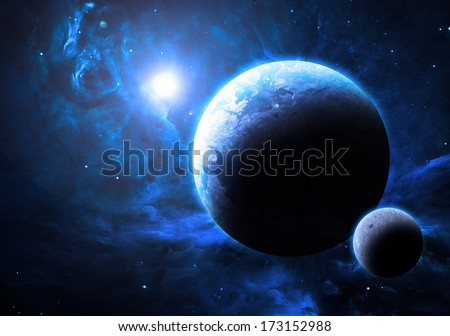 Planet and Moon - Elements of this image furnished by NASA - stock photo