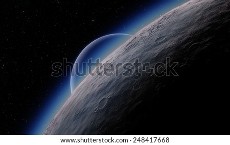 Planet and moon over horizon