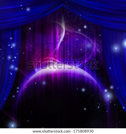Planet and space with stage curtains - stock photo