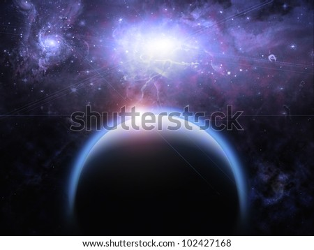 Planet and Starscape - stock photo