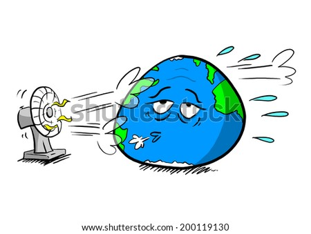 Planet Cooled By Fan - stock photo