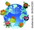 Planet Earth and evil germs around spreading infection - stock photo