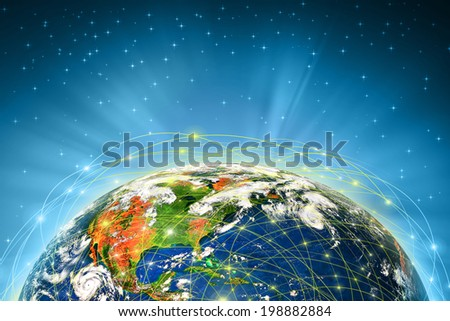 Planet earth and light transmission network. Best Internet Concept of global business from concepts series. (Elements of this image furnished by NASA) - stock photo