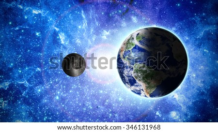 planet earth and moon deep in space Elements of this image furnished by NASA - stock photo