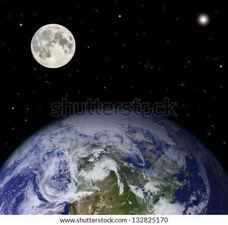 Planet earth and moon - Elements of this image furnished by NASA