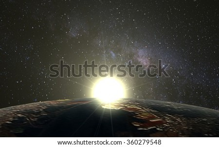Planet Earth and Space sunrise as the desktop wallpaper. - stock photo