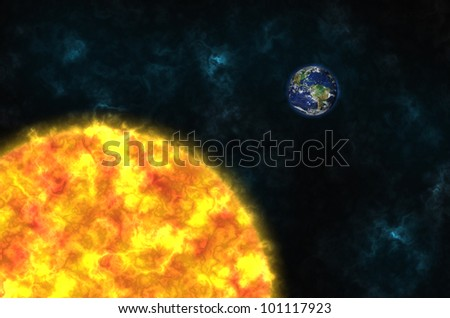 planet Earth and sun in the space. Elements of this image furnished by NASA