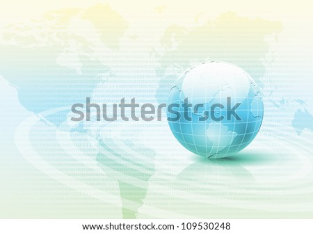 Planet earth and technology background with computer objects - stock photo
