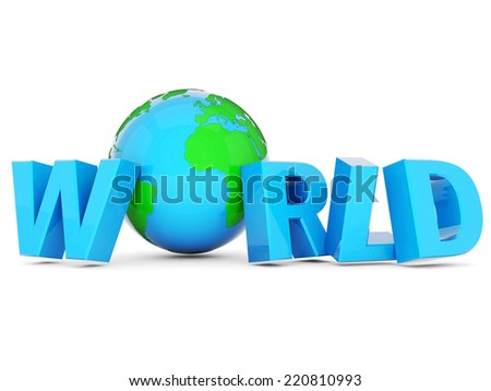 planet earth and the word world on a white background