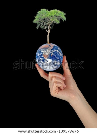 Planet earth as symbol of nature conservation.Elements of this image furnished by NASA