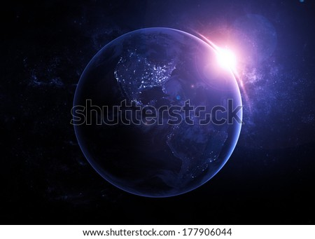 Planet Earth at Night - Elements of this Image Furnished by NASA