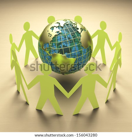 Planet Earth at the center of attention. Concept of ecology, environmental protection or business concept, teamwork around the world. - stock photo