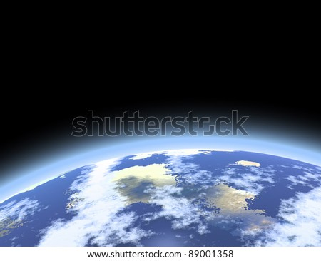Planet Earth atmosphere viewed from space