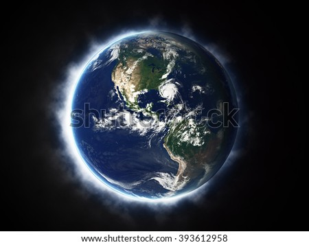 Planet Earth Beaming - American Continent (Elements of this image furnished by NASA)