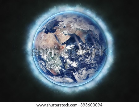 Planet Earth Beaming - Mediterranean Continent (Elements of this image furnished by NASA)