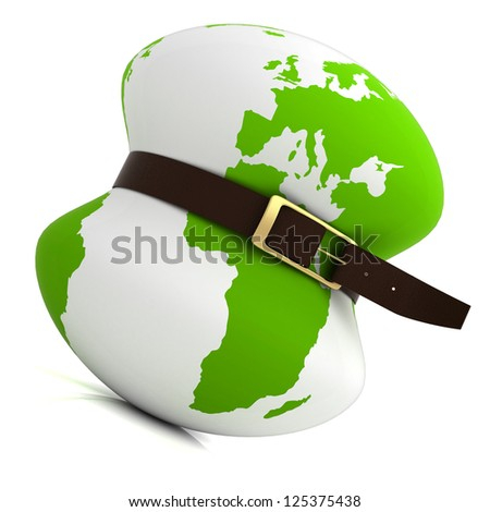 planet earth belt tightening - global financial crisis - stock photo