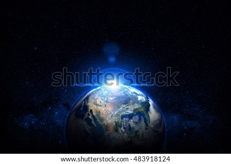 Planet Earth Blue Sunrise Outer Space Galaxy. Image Elements Furnished By NASA.