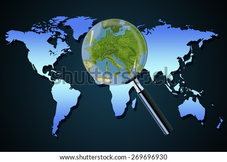 Planet earth central eastern Europe crisis with political issues Greece Italy focused with a magnifying glass - stock photo