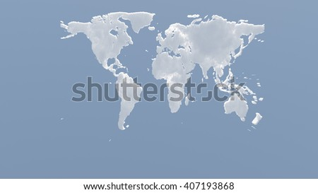 Planet Earth Clouds 3D Render - stock photo