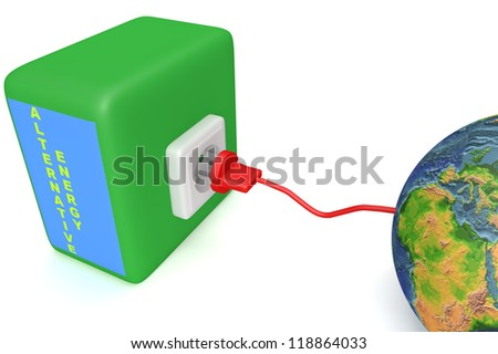 "Planet Earth connect to green energy source via electric plug 3d concept isolated on white ""Elements of this image furnished by NASA"""
