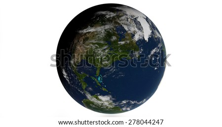 Planet Earth 3D Globe Isolated - North America - Elements of this image furnished by NASA