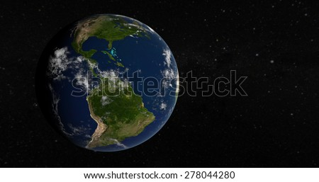 Planet Earth 3D Globe - South America - Elements of this image furnished by NASA - stock photo