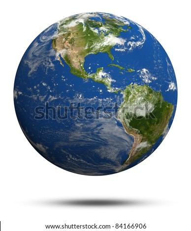 Planet Earth 3d render. Earth globe model, elements of this image furnished by NASA - stock photo