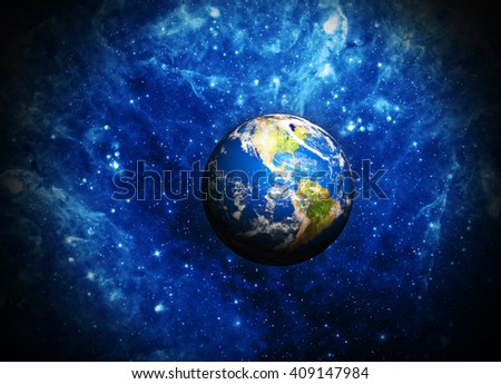 planet earth deep in space Elements of this image furnished by NASA - stock photo