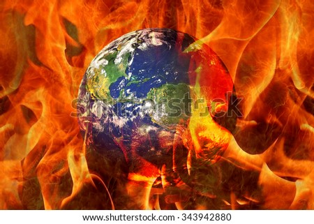 Planet Earth End Burning in an apocalyptic scenario. Earth image provided by NASA  - stock photo