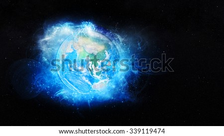 Planet Earth Energy - Asian Continent. Elements of this image furnished by NASA. - stock photo