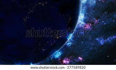 Planet Earth Energy Effect & Galaxy Background (Elements of this image furnished by NASA)