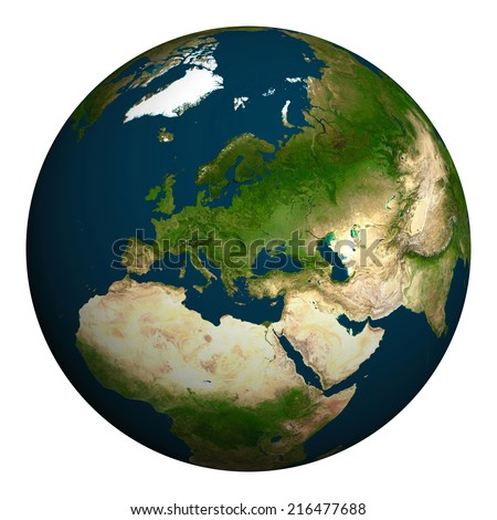 Planet earth. Europe, part of Asia and Africa. Elements of this image furnished by NASA. - stock photo
