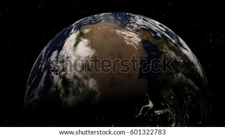 Planet Earth from space 3D illustration orbital view, our planet from the orbit, world, ocean, atmosphere, land, clouds, globe (Elements of this image furnished by NASA)