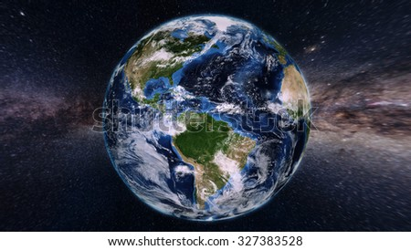 Planet Earth From Space - 3D Render (Elements of this image furnished by NASA) - stock photo