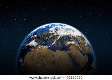 Planet earth from space with clouds europe africa and middle east Elements of this image furnished by NASA - stock photo