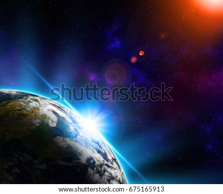 Planet earth from the space at night horizon Sun and stars. Elements of this image furnished by NASA