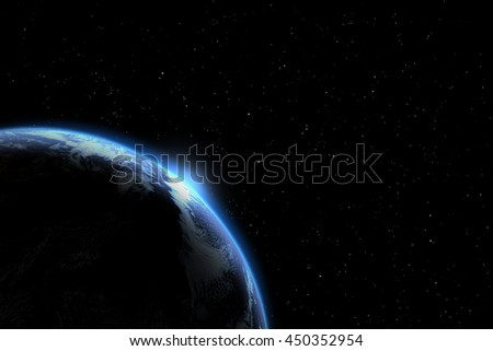 Planet earth from the space at night . Some elements of this image furnished by NASA - stock photo