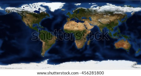 Planet Earth Global Map - Digital Pixels Effect (Elements of this image furnished by NASA)